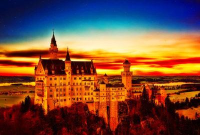 закат Нойшванштайн, замок Баварии, вечер, закат в Германии